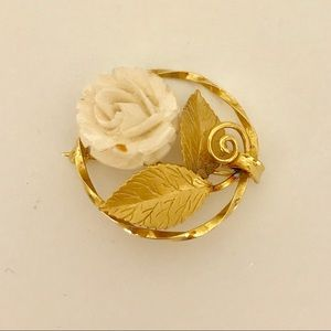 Vintage Gold with Ivory Rose Brooch